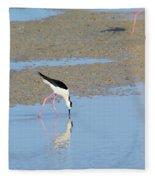 A Stilt Drinking Its Reflection Fleece Blanket