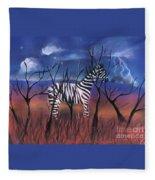 A Stormy Night For A Zebra  Fleece Blanket