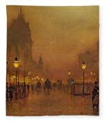 A Street At Night Fleece Blanket