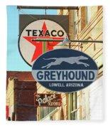 A Street Scene Of Vintage Signs, Lowell, Arizona Fleece Blanket
