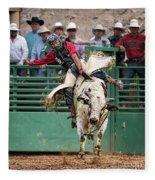 A Strong Bull Ride Fleece Blanket