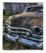A Stylized Wide Angle Look At An Old Rusty Cadillac By A Cornfield Fleece Blanket