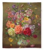 A Summer Floral Arrangement Fleece Blanket