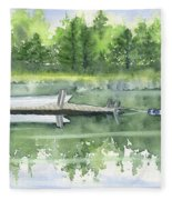 A Summer Pond Fleece Blanket