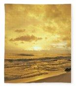 A Sunrise Over Oahu Hawaii Fleece Blanket