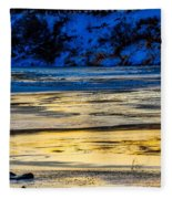 A Sunset In A River Of Ice Fleece Blanket