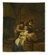 A Tavern Interior With Two Peasants Making Advances On A Maid With Figures Making Music Beyond Fleece Blanket