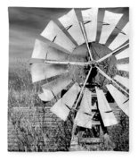 A Texas Windmill Fleece Blanket