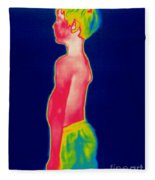 A Thermogram Of A Boy In Shorts Profile Fleece Blanket