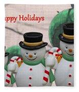 A Three Snowman Holiday Fleece Blanket