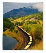 A Train Of Golden Grain  Fleece Blanket