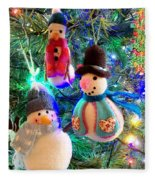 A Trio Of Snowmen Fleece Blanket