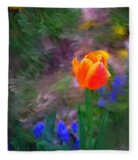 A Tulip Stands Alone Fleece Blanket