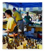 A Vendor At The Garlic Fest Offers Garlic Vinegar And Olive Oil For Sale Fleece Blanket