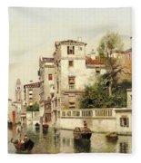A Venetian Canal Fleece Blanket