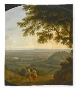 A View Across The Alban Hills With A Hilltop On The Right And The Sea In The Far Distance Fleece Blanket