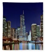 A View Down The Chicago River Fleece Blanket
