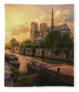 A View From Bridge Pont De L Archeveche, Archbishop Bridge, Infront Of Notre Dame De Paris Cathedr Fleece Blanket