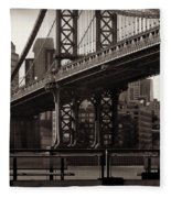 A View From The Bridge - Manhattan Bridge New York Fleece Blanket