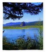 A View Of Beacon Rock Fleece Blanket