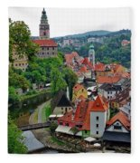 A View Of Cesky Krumlov And Castle In The Czech Republic Fleece Blanket