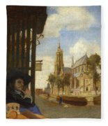 A View Of Delft With A Musical Instrument Seller's Stall Fleece Blanket