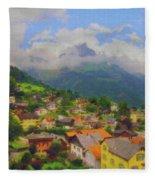A View Of Engelberg Switzerland Fleece Blanket