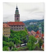 A View Of The Cesky Kromluv Castle Complex In The Czech Republic Fleece Blanket