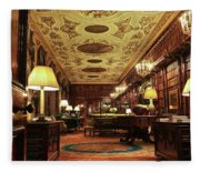 A View Of The Chatsworth House Library, England Fleece Blanket