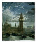 A View Of Westminster Abbey And The Houses Of Parliament Fleece Blanket