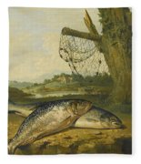 A View On The River Derwent At Belper Derbyshire With A Salmon And A Grayling On The Bank Fleece Blanket