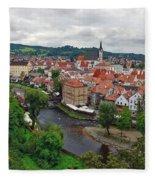 A View Overlooking The Vltava River And Cesky Krumlov In The Czech Republic Fleece Blanket