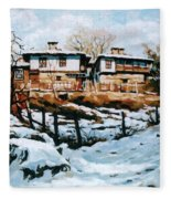 A Village In Winter Fleece Blanket