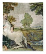 A Virgin With A Unicorn Fleece Blanket