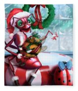 A Visit With Santa Fleece Blanket