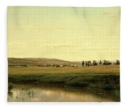 A Wagon Train On The Plains Fleece Blanket