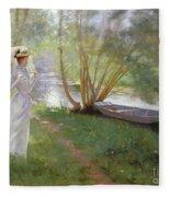 A Walk By The River Fleece Blanket