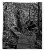 A Walk Through The Willowbrae Rainforest Black And White Fleece Blanket