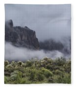 A Wave Of Fog On The Superstitions  Fleece Blanket