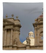 A Well Placed Ray Of Sunshine - Noto Cathedral Saint Nicholas Of Myra Against A Cloudy Sky Fleece Blanket
