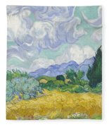 A Wheat Field, With Cypresses Fleece Blanket