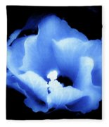 A White Hibiscus Bloom With Blue Tinge On Black Background Fleece Blanket