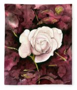 A White Rose Fleece Blanket