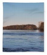A Windswept River In March Fleece Blanket