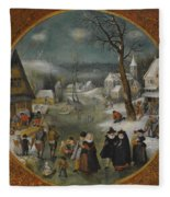 A Winter Landscape With Figures Skating Fleece Blanket