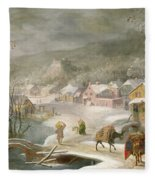A Winter Landscape With Travellers On A Path Fleece Blanket