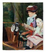 A Woman And Child In The Driving Seat Fleece Blanket