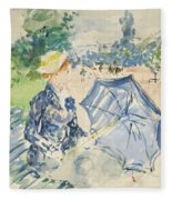 A Woman Seated At A Bench On The Avenue Du Bois Fleece Blanket