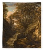 A Wooded Landscape With A Waterfall And A Fisherman Walking Along A Path Fleece Blanket