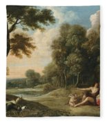 A Wooded Landscape With Venus Adonis And Cupid Fleece Blanket